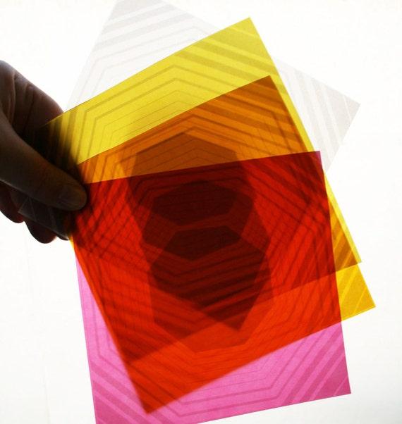Octagon Origami Paper - Radiant Translucent Origami Paper - 5 inch square - Modern, geometric origami paper