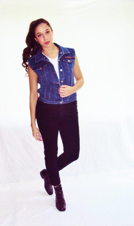 vintage 90s Denim Vest cropped 90s grunge Dark Blue Pockets small, medium
