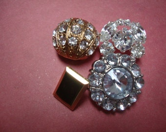 Lot of 4 Unique Vintage Buttons Crystal Rhinestone Buttons Silver Buttons Geometric Buttons OC