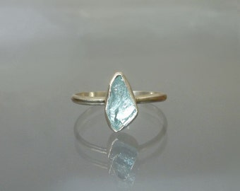 Raw Aquamarine Stack Ring Natural Rough Crystal in Sustainable Sterling  Silver Ring -  Aqua Stackable Ring