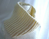 Winter White Long Simple Knit Chunky Cowl Warm Autumn Winter Layers One Size Fits All