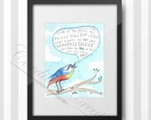 """Song Bird watercolor illustration featuring the verse Matthew 6:26 print 8x10"""", digitally printed on white linen stock, great for a nursery"""