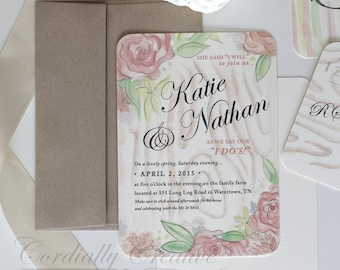 French Floral Rustic Wedding Invitation featuring pastel floral and wood grain illustration (shown with RSVP) for wedding, party, and more