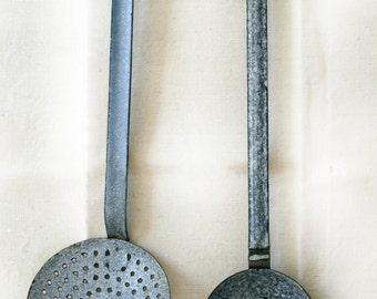 Antique French enamel ladle and skimmer, blue grey and white speckled enamel, Vintage Home Decor Kitchen