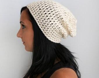 Ivory Slouchy Beanie, Unsiex Adult Beanie Hat
