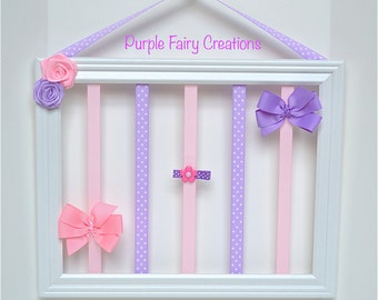 Accessories Organizer Picture Frame - White, Lavender, Baby Pink, Hooks (Hair Bow & Headband Holder) Baby Girl, Girl or Teen Room