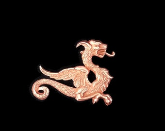 Copper Rose Gold Plated Brass Clearance No Tail Dragon Winged Sea Serpent Stamping Left Side Made in the USA for Dr Brassy Steampunk