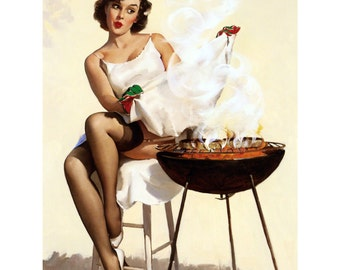 Pinup Girl Card - Cooking Steaks - Barbecutie - Elvgren Repro