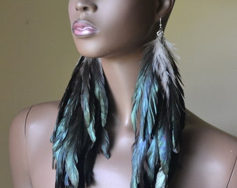 Iridescent Feather Earrings, Extra Long Feather Earrings, Bohemian Jewelry, Feather Jewelry