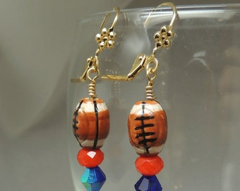 Blue and Orange Football Earrings