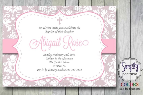Communion/Baptism Invitation with Damask