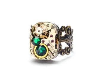 MAY Steampunk Ring, EMERALD BIRTHSTONE Ring, Steampunk Watch Ring, Antique Brass Ring, Steam Punk Steampunk Jewelry By Victorian Curiosities