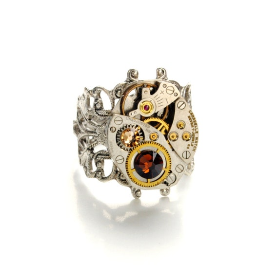 NOVEMBER Steampunk Ring TOPAZ Steampunk Jewelry Steampunk Watch Ring Birthstone Ring Victorian Steam Punk Jewelry by Victorian Curiosities