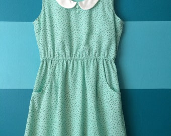 Mint floral print dress with peter pan collar Medium