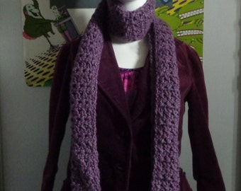 Dusty Purple Handmade Crochet Scarf by Pepperland