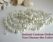 "7 Pearl and Rhinestone Bridesmaids Bracelets - Instant Custom Order - Bracelets in Your Choice of Colors - ""Original"" Style"
