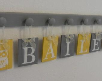 Owl Nursery Decor Art, Hanging Name Blocks Custom  with Grey Knobs, Yellow Gray Personalized Baby Nursery Wall Decor Sign