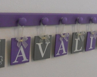 Baby Girl Name Sign Purple Gray Butterfly Design Alphabet Letters Custom with Wooden Pegs in Lilac