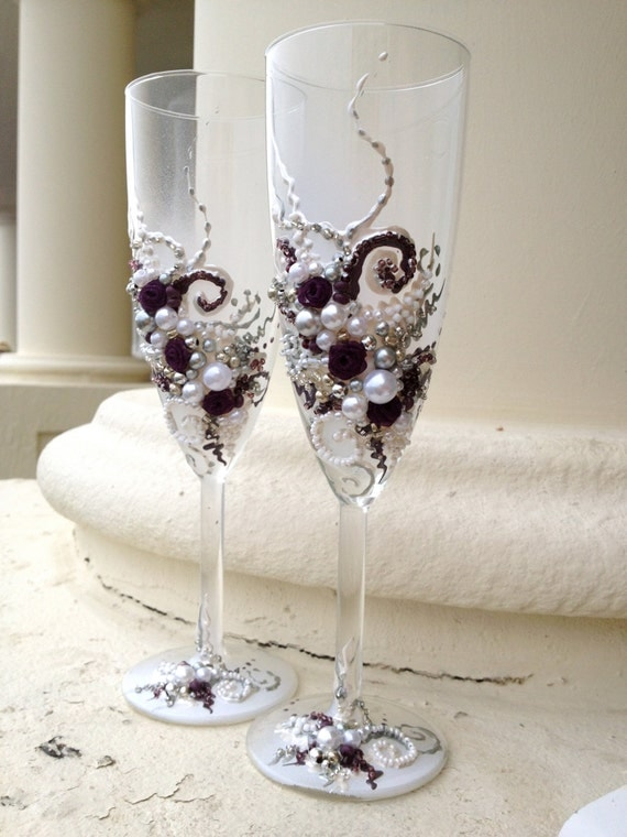 Items Similar To Wedding Champagne Flutes In Plum Silver