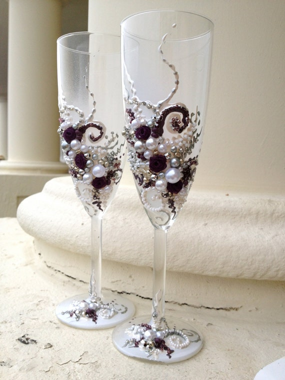 Wedding Present Champagne Glasses : Wedding champagne flutes in plum, silver and white, hand decorated ...