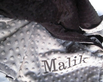 Baby Boy Stroller Blanket - Grey and Black Minky - Personalization is Available