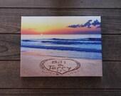 SUNRISE/SUNSET Custom Canvas - sand writing, message written on the beach - FREE Shipping