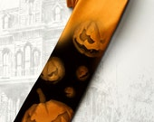 Men's Halloween party orange necktie. Spooky pumpkins tie in orange.Orange and black  horror style necktie by tiestory.