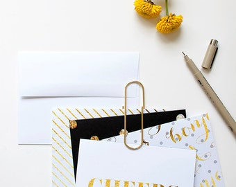 CHEERS eight piece blank card set with envelopes / SALE