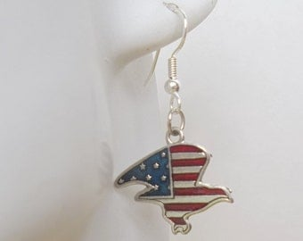 Patriotic Eagle Charm Dangle Earrings