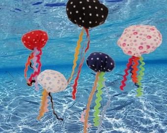 A Dozen of Colourful Handsewn Catnip Jellyfish Cat Toy