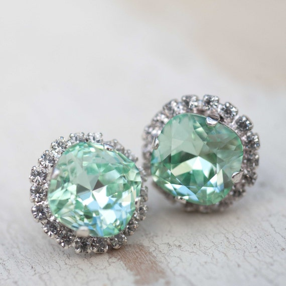 mint green seafoam earrings wedding jewelry sugar sparklers