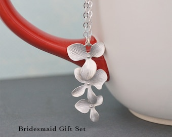 DISCOUNTED SET of 3 Cascading Silver Flower Orchid Pendents on Sterling Silver Chains, Bridesmaid Gift Set, Silver Tropical Necklaces