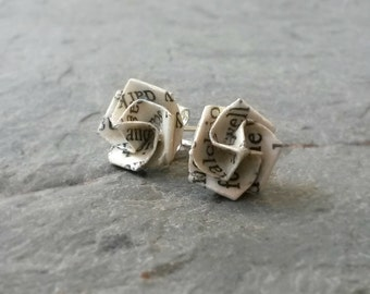 Literary Origami Rose Flower Post Earrings