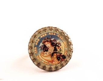 virgo zodiac ring, zodiac ring, virgo jewelry, resin cameo ring, astrology sign, virgo sign, gift for her,horoscope, astrology sign ring