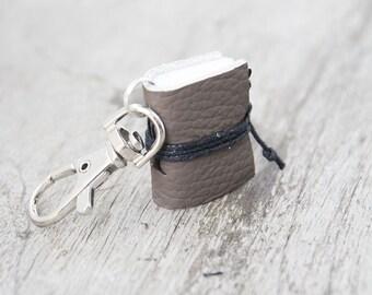 Mini book keychain, leather keychain, book charm, key fob book keychain, teacher librarian book lover, miniature leather journal - beige