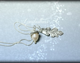 Matching, Winter White Freshwater Acorn Necklace and Fine Silver Oak Leaf, Handmade, Handcast.