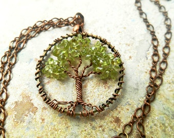 Tree of Life Natural Peridot Necklace Petite