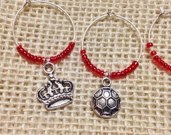 Great Britain Wine Charms. United Kingdom Wine Lovers perfect gift. British themed gift. Big Ben, London, British crown, soccer. Set of 6.