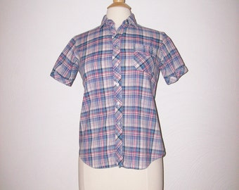 1970s / 1980s Plaid Shirt Vintage 70s / 80s Button Down Blouse - S/M