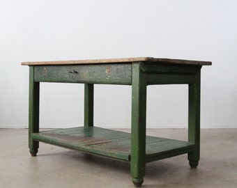 primitive work table, American painted wood table, farm desk