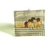 Textile Landscape in neutrals, Mini Textile Art, Embroidered Beaded Art, Wall Art, golden trees