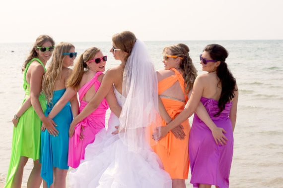 Bridesmaids Neon Dresses by StaysiLee on Etsy