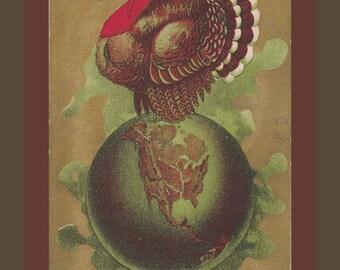 Turkey World-  1900s Antique Postcard- A Happy Thanksgiving- Globe of America- Edwardian Decor- Paper Ephemera- Used