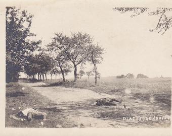 Attack of the Plateau De Nouvron- 1910s Antique Photograph- WWI France- Battlefield Dead Soldiers- Real Photo Postcard- RPPC- Paper Ephemera