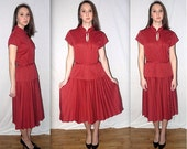 Kiki ... vintage 70s day dress / high waist polka dot / pussy bow peplum / accordian pleat / secretary 1970s disco boho .. M
