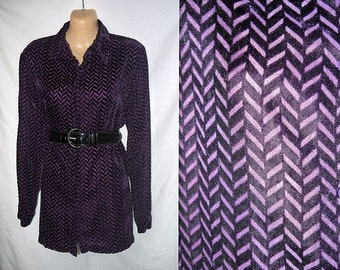 Zooropa .. vintage 90s velvet top shirt blouse / 1990s button up tunic / purple herringbone / sheer sleeve / slouchy boxy .. S M