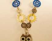 Clockwork Owl and gear necklace