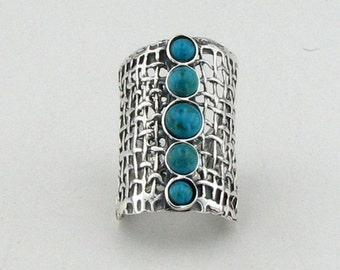 925 Handcrafted Art Sterling Silver Turquoise Ring, any size, green stone ring, December birthstone ring  (1142b