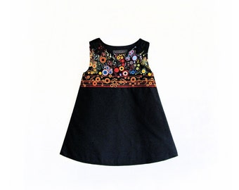Baby Girl Dress Effervescence black red dots circles colorful yellow blue