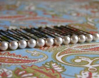 12 White 6mm Swarovski Crystal Pearl Hair Pins